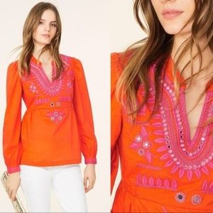NWT Tory Burch Claudia Mirror Embroidered Top